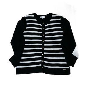 CALVIN KLEIN Nautical Black White Stripe Cardigan